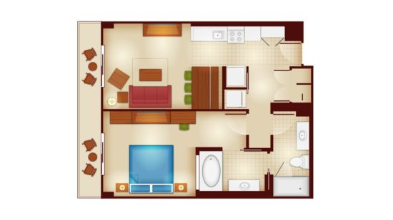 Disney's Copper Creek 1-Bedroom Floorplan