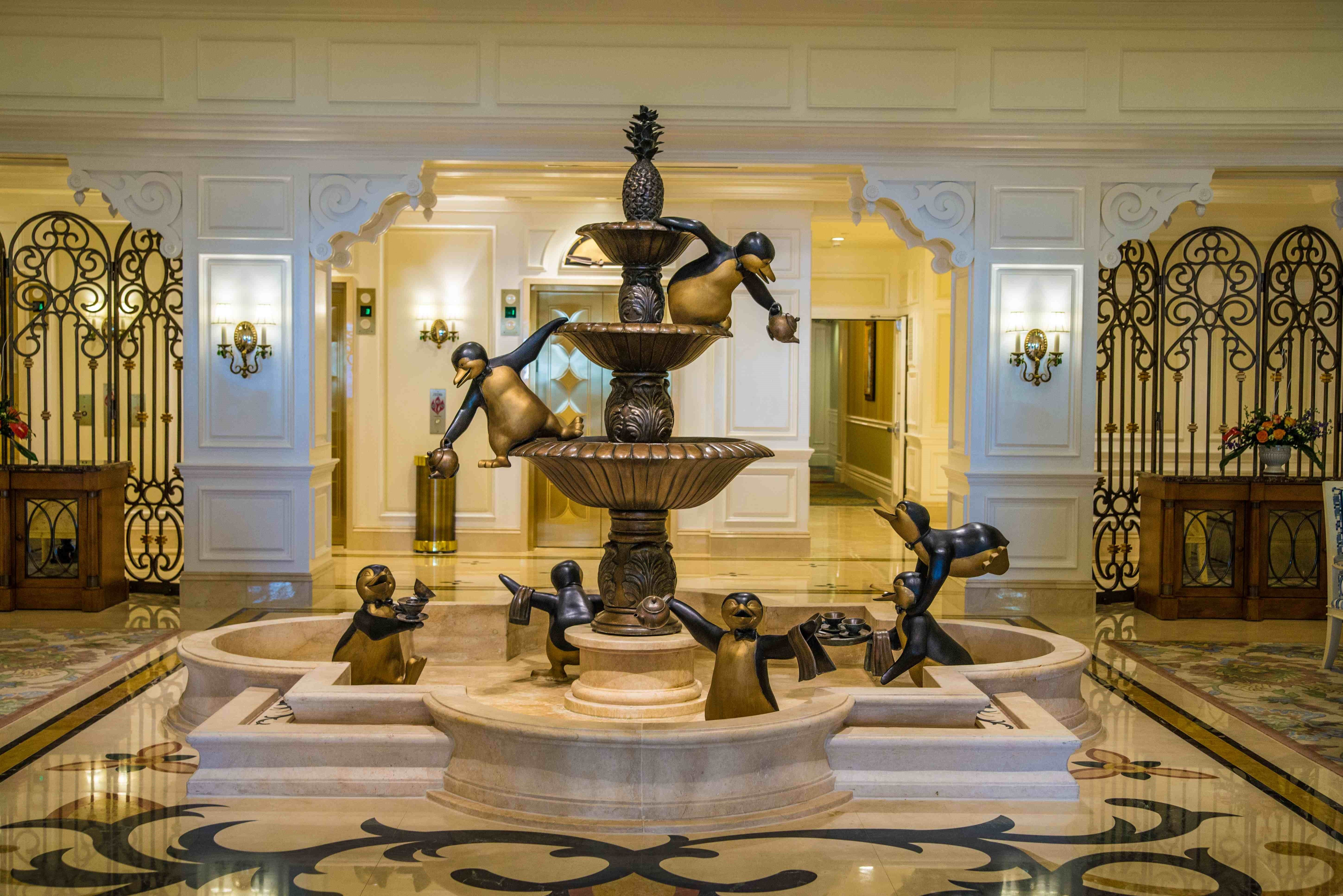 The Mary Poppins Penguin fountain inside Disney's Grand Floridian Resort & Spa