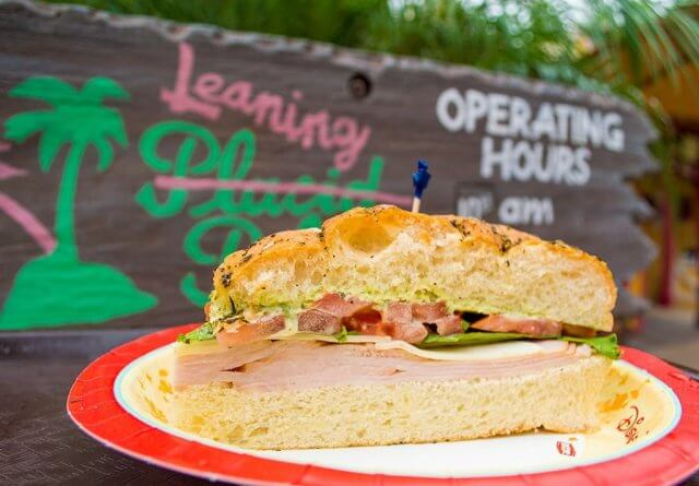 Ham sandwich on a paper plate at Typhoon Lagoon