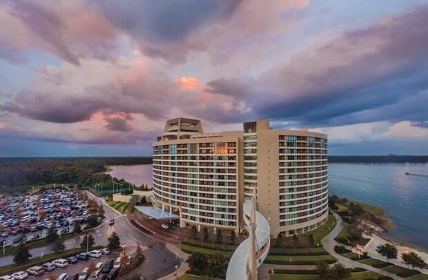 View of Bay Lake Tower at Sunset