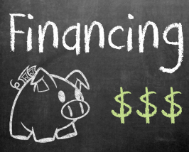 chalk board financing sign