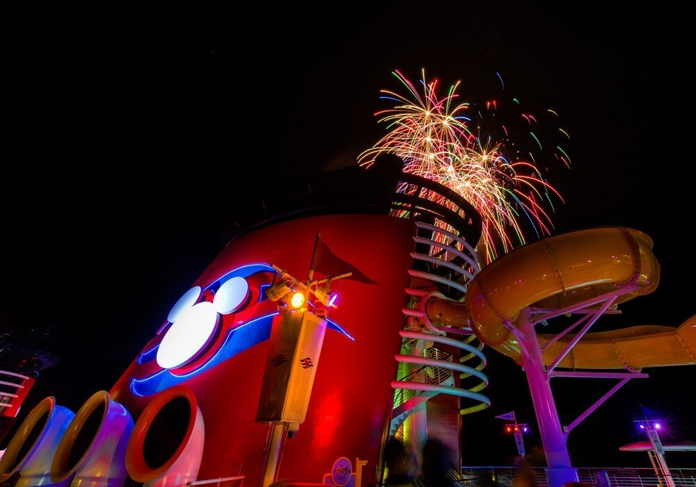 Fireworks over a Disney Cruise Line ship