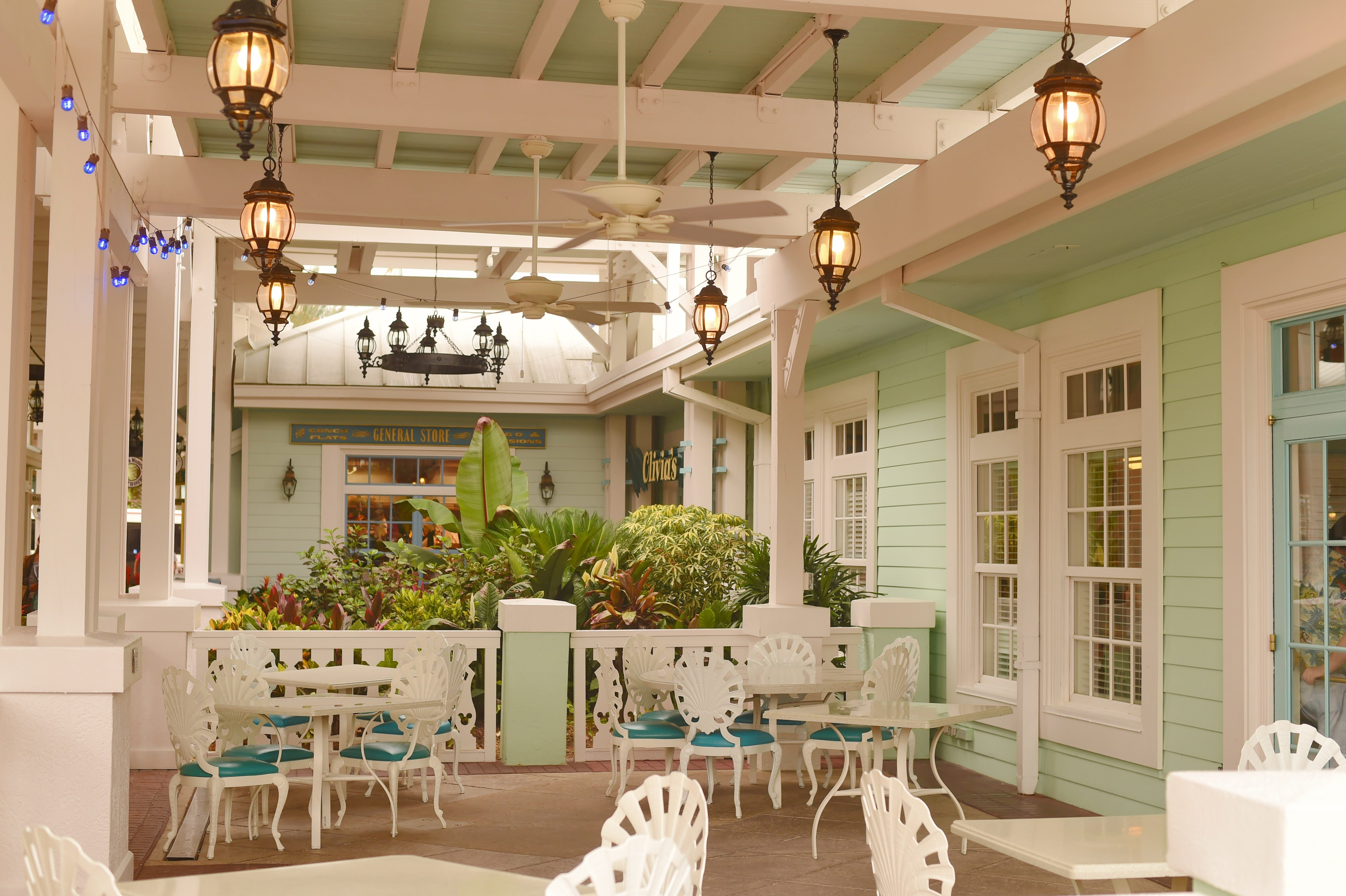 A vintage looking seating area outside at Disney's Old Key West Resort